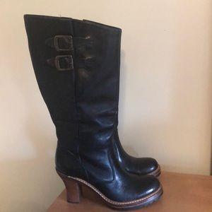 Frye Boots with Wood Heel